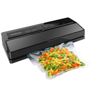 GERYON Vacuum Sealer, Automatic Food Sealer Machine for Food Savers w/Starter Kit|Led Indicator Lights|Easy to Clean|Dry & Moist Food Modes| Compact Design (Black)