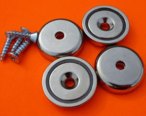 "4Pc Neodymium Cup Magnets 90 lbs Pull 1.26"" Dia Screw Included"