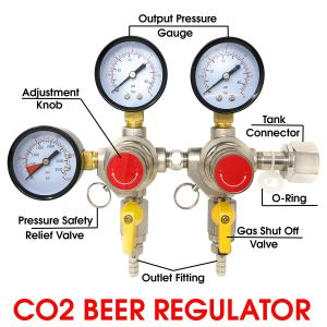 "Co2 Beer Regulator Two Product Dual Pressure Kegerator Homebrew Heavy Duty Features Adjusting Knob - 0 to 80 PSI - 0 to 3500 Tank Pressure CGA-320 Inlet w/ 3/8"" O.D. Safety Discharge 50-55 PSI"