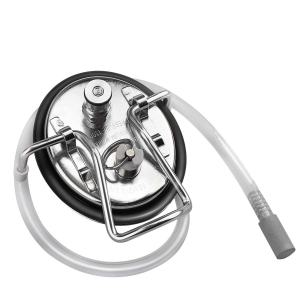 Ferroday Carbonation Keg Lid, Stainless Steel Carbonation lid With 2 Micron Diffusion Air Stone & 19.68 Inch Hose