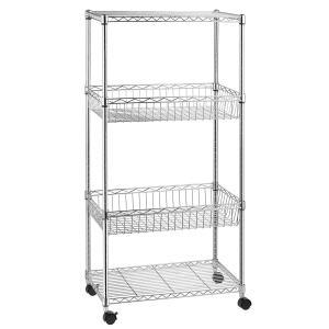 4-Shelf Shelving Unit, Wire Shelves with 4 Caster Wheels, Adjustable Basket Storage Rack, Chrome, by Kealive