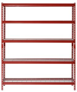 "Muscle Rack UR601872WD5-R 5-Shelf Steel Shelving Unit, 60"" Width x 72"" Height x 18"" Length, Red"