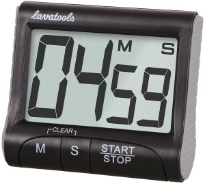 Lavatools KT1 Digital Kitchen Timer & Stopwatch, Large Digits, Loud Alarm, Magnetic Stand (Black)