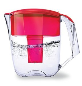 Ecosoft Water Filter Pitcher Jug - BPA-Free - Patent Commercial Grade Ecomix Filter Cleaners - 8 Cups Purified Water, 10 Cup Capacity with 1 Free Cartridge for Home Filtration, Red