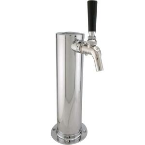 Kegco DT1F-630SS Single Tap Stainless Steel Beer Tower with Perlick 630SS Stainless Faucet