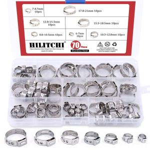 Hilitchi 70pcs Stainless Steel Single Ear Hose Clamps Kit