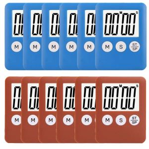 12 Pack Small Mini Digital Kitchen Timer Magnetic Countdown Up Minute Second Timer (6 Brown,6 Blue)