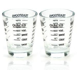 Shot Glasses Measuring cup Liquid Heavy Glass Wine Glass Espresso Shot Glass 26-Incremental Measurement 1 OZ 4 Features 45ML (2 pack-black 30ml)