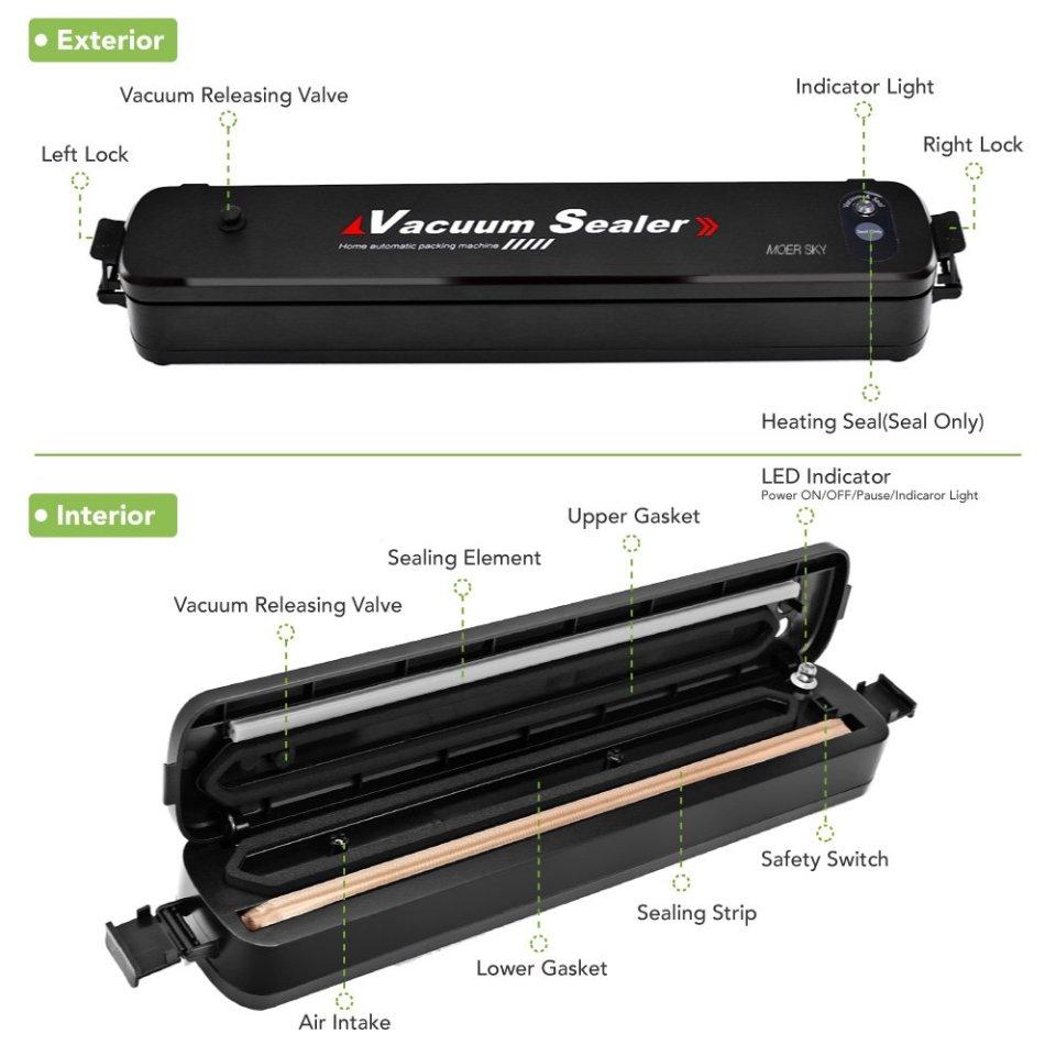 Moer Sky Vacuum Sealer Machine, Automatic Mini Portable Home Vacuum Air Sealing System for Food Preservation/Starter Kit | Led Indicator Lights | Dual Capacitance Design + 25pcs Sealer Bags