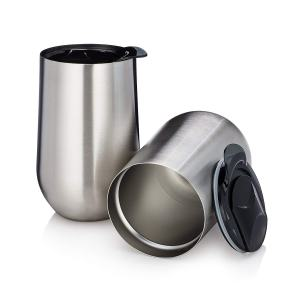 Stainless Steel Stemless Insulated Wine Tumblers with Lids - Set of 2 Double Walled - Wine Coffee Tea Cup - 15 Oz - Shatterproof - BPA Free Healthy Choice - Dishwasher Safe