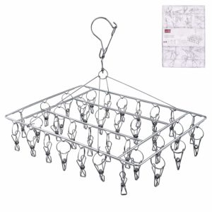 Rosefray 36 Clips Metal Clothespins, Stainless Steel Clothes Drying Rack, Hats Rack, Portable Metal Hanger, Great for Quick Hand Wash of Delicates