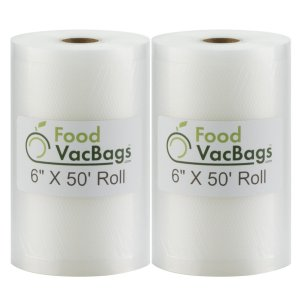 "Roll over image to zoom in 2 FoodVacBags 6"" X 50' Rolls 4 mil Vacuum Sealer Bags"