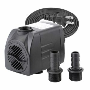 400 GPH Submersible Water Pumps for Aquarium, Tabletop Fountains, Pond, Water Gardens and Hydroponic Systems with Two Nozzles, CE-ROHS Approved, 5.9 ft Power Cord