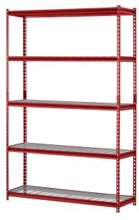 "Muscle Rack UR301260WD5-R 5-Shelf Steel Shelving Unit, 30"" Width x 60"" Height x 12"" Length, Red"