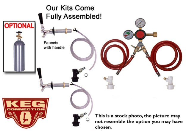 2 Faucet Fridge Homebrew Kegerator Kit