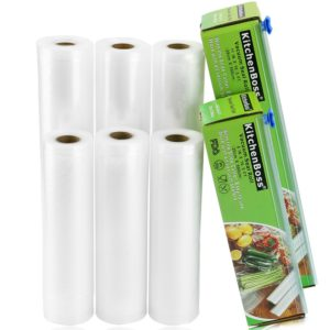 """KitchenBoss Vacuum Sealer Rolls 6 Pack 8""""x16.5' and 11""""x16.5' with Cutter Box Commercial Grade Bag Rolls for Food Saver and Sous Vide(total 100 feet)"""