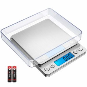 [New Version] AMIR Digital Kitchen Scale, 500g/ 0.01g Mini Pocket Jewelry Scale, Cooking Food Scale, Back-Lit LCD Display, 2 Trays, 6 Units, Auto Off, Tare, PCS, Stainless Steel, Batteries Included