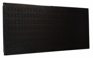 "Wall Control 30-HP-1632 B 16"" x 32"" Horizontal Black Metal Pegboard Tool Board Panel"
