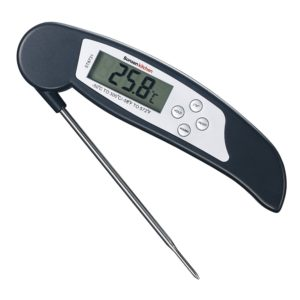 Bonsenkitchen Digital Thermometer,Instant Read Meat Thermometer for Grilling, BBQ and Heated Liquid Drinks, Large Digital LCD Display, Foldable 4.17 Inches Long Stainless-Steel Probe (Black)