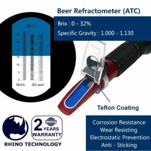 Beer (0-32% Brix & 1.000-1.130 Specific Gravity) Refractometer with ATC, Rhino Handheld Refractometer Give a Portable Holster, Teflon Coating | Fruit Juice Wine Test