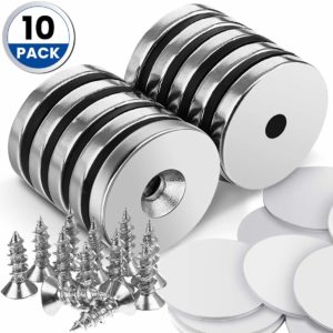 """DRILLPRO 10pcs Neodymium Magnets, 1.26""""D x 0.2""""H Strong Magnet Neodymium Disc for Hanging Artwork, Magnetic Tools, Countersunk Hole Magnet Discs with 12pcs Screws and 10 Sheet Double-Sided Stickers"""