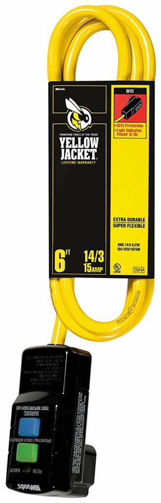 Woods Yellow Jacket 2879 14/3 SJTW Right Angle GFCI with Lighted End, 6-Feet, Yellow