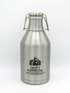 Frosty Growler Double-walled Insulated Stainless Steel Growler - Keep Your Beer/Wine/Lemonade/Sparkling Water Cold and Carbonated for 24 Hours - with Swing-Top Lid and Handle for Easy Pouring - 64 oz