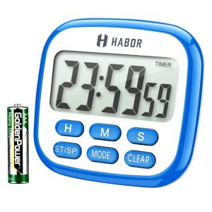 Habor Digital Kitchen Timer Large, Strong Magnet Back, Loud Alarm, Memory Function 12-Hour Display Clock, Count-Up & Count Down for Cooking Baking Sports Games Office