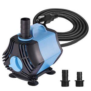 KEDSUM 400GPH Submersible Water Pump(1500L/H,40W), Ultra Quiet Submersible Pump, Fountain Pump-7ft High Lift, 6.6ft Power Cord, 3 Nozzles for Fish Tank, Pond, Aquarium, Statuary, Hydroponics