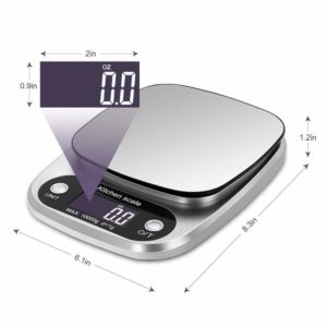 OFFICESU Digital Kitchen Scale Multifunction Food Scale, 22 lb 10 kg, Silver, Stainless Steel (Batteries Included)