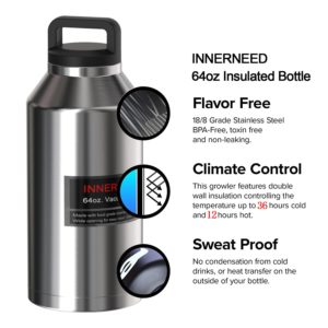 INNERNEED 64 oz Insulated Water Bottle Leak-Proof Stainless Steel Double-Walled Vacuum Flask Large Capacity Beer Growler