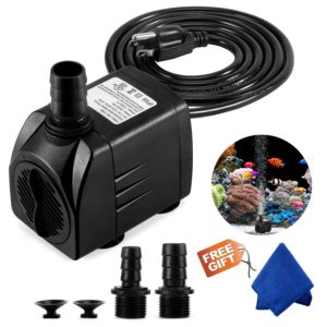 Fountain Pump, 400GPH Submersible Water Pump, Durable 25W Outdoor Fountain Water Pump with 6.5ft Power Cord, 3 Nozzles for Aquarium, Pond, Fish Tank, Water Pump Hydroponics, Backyard Fountain