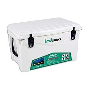Landworks Rotomolded ENHANCED Ice Cooler 45QT 5-10 Day Ice Retention Commercial Grade Food Safe Dry Ice Compatible UV Protection 15mm Gasket (2) Bottle Openers Vacuum Release Valve Lo Profile Latches