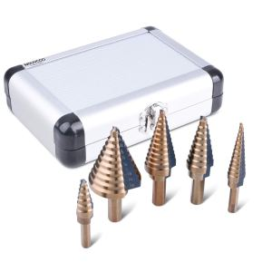 NOUVCOO 5PCS HSS Cobalt Titanium Step Drill Bit Set Tools, High Speed Steel Total 50 Sizes with Aluminum Case NC03
