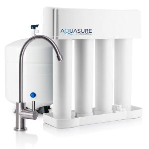 Aquasure Premier Advanced 75 GPD Reverse Osmosis Water Filtration System with Quick Change Water Filter (Brushed Nickel Finished Designer Faucet)