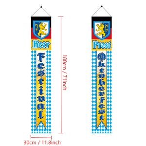 Oktoberfest Banner Oktoberfest Decorations Bavarian Oktoberfest Wall Pennants Banners Flags Welcome Porch Sign for German Theme Party Decoration