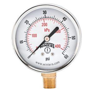 "Winters PEM Series Steel Dual Scale Economical All Purpose Pressure Gauge with Brass Internals, 0-60 psi/kpa, 2-1/2"" Dial Display, +/-3-2-3% Accuracy, 1/4"" NPT Bottom Mount"