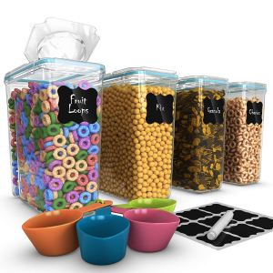 Set of 4 Cereal & Dry Food Storage Container (16.9 Cup/135.2oz) + 4 Measuring Cups Set + FREE Labels & Marker -100% Airtight Lid - BPA-Free Dispenser Keepers for Cereal, Flour, Sugar, Coffee, Rice etc