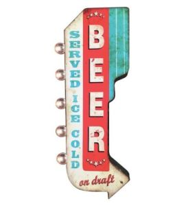 BEER Ice Cold On Draft Double Sided Metal Sign W/ LED Lights, Craft Bar