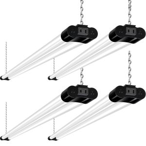 Hykolity Linkable LED Shop Light for Garage, 4FT 36W Utility Light Fixture for Workshop Basement, 5000K Daylight LED Workbench Light with Plug[250W Equivalent] Hanging or Surface Mount, Black-4 Pack