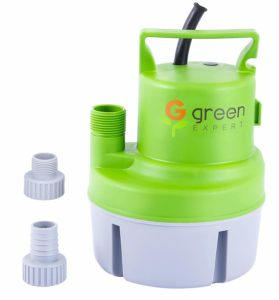 "Green Expert 203617 1/6 HP Portable Submersible Utility Pump with Max 1056 GPH Flow Efficiently for Water Removal Basement Flood Drainage Pump, suit to 3/4"" Standard Garden hose, 25 feet Cord"