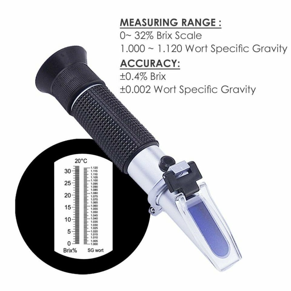 RSG-100ATC 0-32% Brix Specific Gravity Refractometer Fruit Juice beer