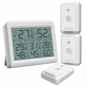 ORIA Indoor Outdoor Thermometer with 3 Wireless Sensors, Digital Hygrometer Thermometer, Temperature Humidity Monitor Meter with LCD Backlight, Wireless Thermometer for Home, Office, Bedroom, White