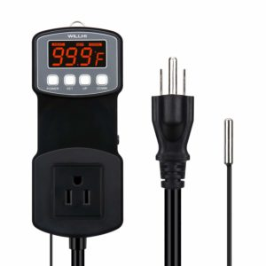 WILLHI WH-1803B High Temperature Controller 1650W Heating and Cooling Mode -22℉~572℉110V 15A Programmable Digital Outlet Thermostat Waterproof Probe NTC Sensor for Smoker BBQ Heat Mat Temp Control