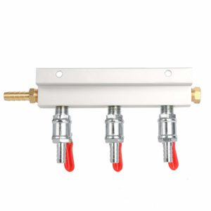 "YaeBrew Gas Manifold, Beer Gas Distributor, Air Distributor CO2 Manifold - Splitter 5/16"" Barb Fittings (3 Way)"