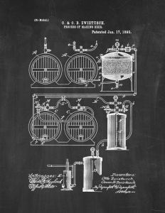 "Process Of Making Beer Patent Print Chalkboard (8.5"" x 11"") M12474"