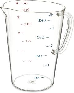Carlisle 4314507 Commercial Plastic Measuring Cup, 1 Gallon, Clear