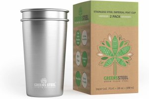 Stainless Steel Cups 20oz Pint Cup Tumbler (2 Pack) By Greens Steel - Premium Metal Cup - Stackable Durable Drinking Glass