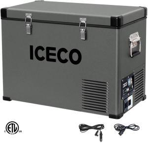 ICECO VL45 Portable Refrigerator 12V Fridge Freezer with SECOP Compressor, 48 Quarts/45Liters Platinum Compact Refrigerator, DC 12/24V, AC 110-240V, 0℉ to 50℉, Home & Car Use, for RV, Truck, Boat, Van