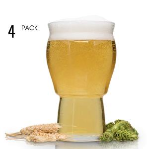 Muffin Top Nucleated Beer Glasses - Tulip Shape and Nucleation for better Aroma - Pint Glass size - Great for IPAs and Cider (Muffin Top Clear 4-Pack)